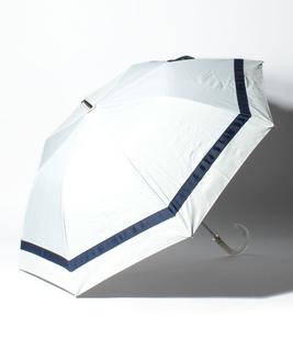 LANVIN en Blue(ランバン オン ブルー)晴雨兼用折りたたみ日傘 切り継ぎビジューりぼん
