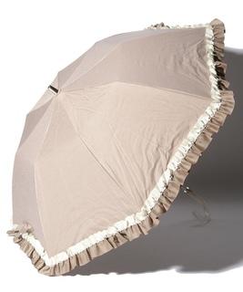 LANVIN en Blue(ランバン オン ブルー)晴雨兼用折りたたみ日傘 グログランフリル