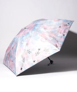 LANVIN en Blue(ランバン オン ブルー)晴雨兼用折りたたみ日傘 箔×オーバーロック
