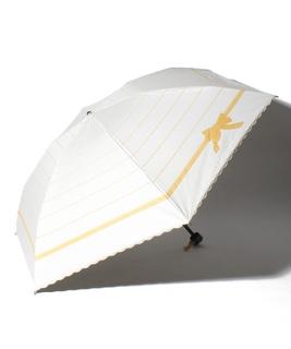 LANVIN en Blue(ランバン オン ブルー)晴雨兼用折りたたみ日傘 りぼんボーダー×スカラ刺繍