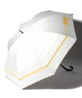 LANVIN en Blue(ランバン オン ブルー)晴雨兼用日傘 りぼんボーダー×スカラ刺繍