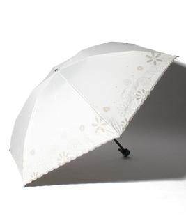 LANVIN en Blue(ランバン オン ブルー)晴雨兼用折りたたみ日傘 グリッター花×スカラ刺繍