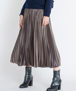 グロッシーサテンプリーツスカート