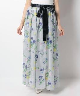 フラワーシフォンロングスカート