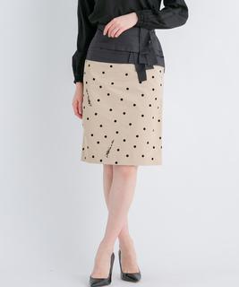 【セットアップ対応商品】ドットフロッキータイトスカート