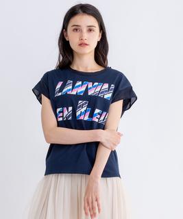 マルチストライプ柄ロゴTシャツ