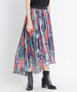 ネオンフラワープリントギャザースカート
