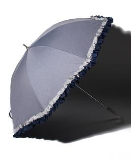 配色フリル晴雨兼用長傘
