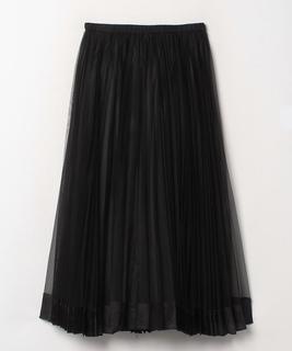 サテンヘムチュールプリーツスカート