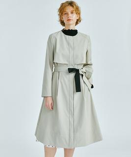 ノーカラーベルト付きコート