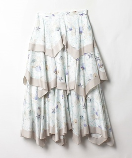 マリンプリント変形スカート