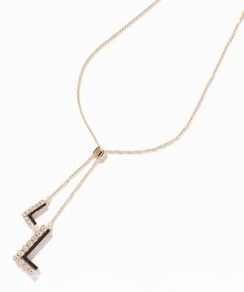 セサンパ ゴールド&ブラック ロゴモチーフY字ネックレス