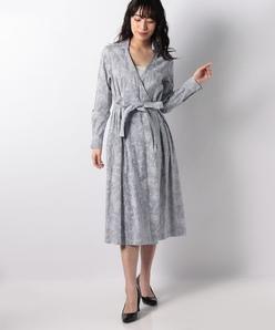ストライプ×更紗プリントカシュクールシャツドレス