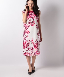 花柄パネルプリントノースリーブドレス