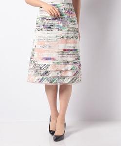 花柄マルチボーダープリントセミタイトスカート