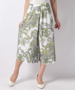 スムース更紗プリントラップスカート風パンツ