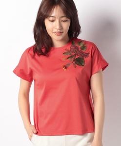 コットンクールスムース トロピカル刺繍付きカットソー