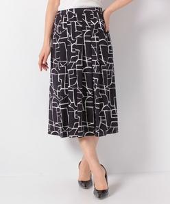 【セットアップ対応】シルキーデシン 幾何柄プリントスカート