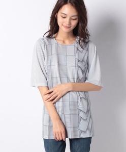 【洗える】強撚スムース トロンプルイユPTカットソーTシャツ