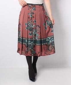 【セットアップ対応】Erica サテン小紋×花柄パネルプリント スカート