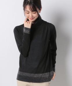 【アンサンブル対応】 カシミヤ ラメ天竺タートルネックセーター