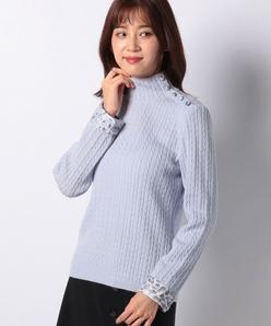 12G ケーブル柄×アニマルプリントハイネックセーター