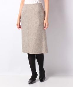 【セットアップ対応】シルク混ツィード 切り替えスカート