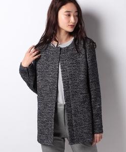 へリンボンループツィード ジャケットコート