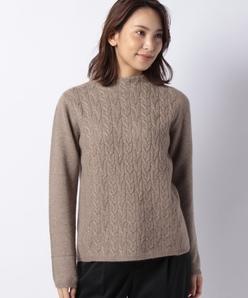 カシミヤ 7G ケーブル柄×天竺表目セーター