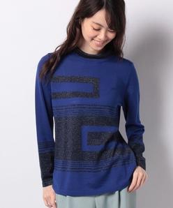 14G 天竺インターシャスタンドネックセーター