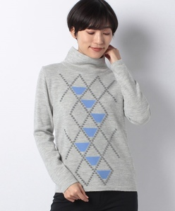 12G インターシャ スタンドネックセーター