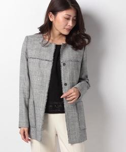 【セットアップ対応】ラメ混ミックスツィードジャケット