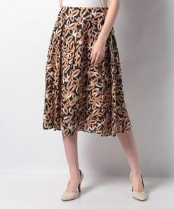 インポート素材 リネン花柄プリントスカート