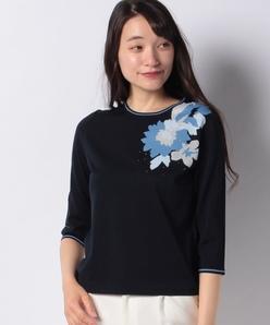 花柄インターシャセーター