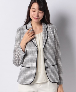 綿麻シースルーチェックジャケット