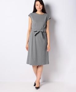 【洗える】ストレッチ千鳥 ベルト付きドレス