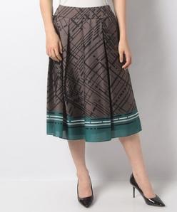 【洗える】【セットアップ対応】ロゴ幾何柄 サテンプリントスカート