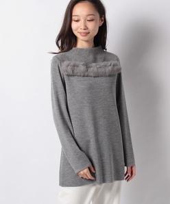14G総針 天竺 ラビットファー付きセーター