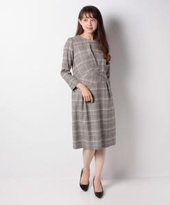 【セットアップ対応】インポート素材 ストレッチチェック ジャカードドレス