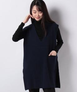 【アンサンブル対応】GOBIカシミヤ ミラノリブ配色ニットベスト