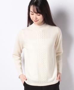 【アンサンブル対応】GOBIカシミヤ ケーブル柄ハイネックニットセーター