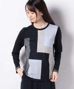 14G 天竺インターシャクルーネックセーター