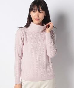 カシミヤ混 12G ケーブル柄セーター