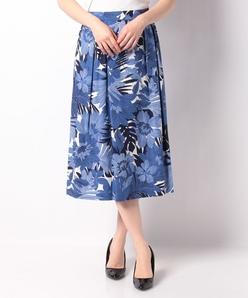 麻混ボイル 花柄プリントスカート