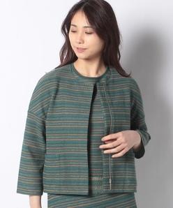 【セットアップ対応】12G インレイ編みニットジャケット