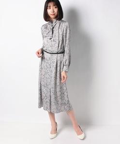 【洗える】アニマル幾何柄 サテンプリントドレス