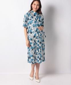 【洗える】インポート素材 コットンボイルリーフプリントドレス