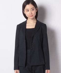 【セットアップ対応】インポート素材 リネンストレッチストライプジャケット