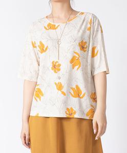 【洗える】ジョイクールスムース 花柄プリントカットソー