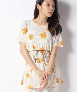 【洗える】ジョイクールスムース 花柄プリントチュニックカットソー